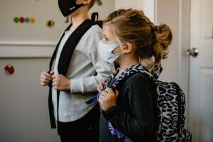 children preparing to go to school